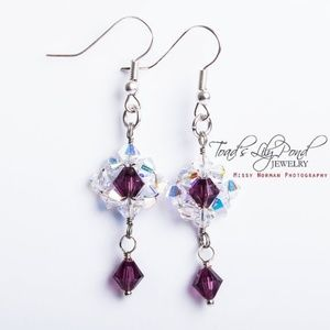 Dangly purple Swarovski crystal earrings